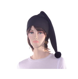 Black Stocking Cap Pompom Made Fleece