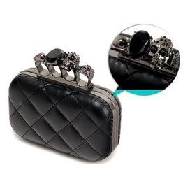 Skull + Black Gem Black Pu Leather Clutch/Purse