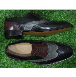 New Mens Formal Shoes Handmade Multi Color Leather Wingtip Two (106)