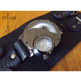 Dual Time Gothic Steampunk Watch & Black Leather Strap
