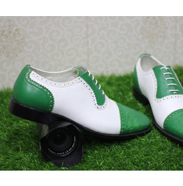 New Mens Handmade Formal Shoes Two Tone Green & White Leather (107)
