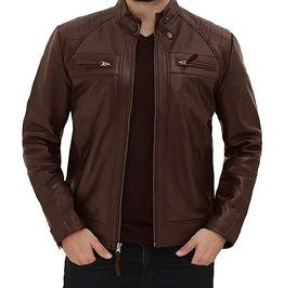 Men Leather Jacket Motorcycle Brown Slim Fit Biker Genuine Sheepskin Jacket