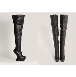 Womens Sexy Black Heel Less Black Thigh High Platform Boots
