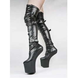 Heel Less Black Thigh High Strap Platform Boots