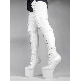 White Heel Less Black Thigh High Strap Platform Boot