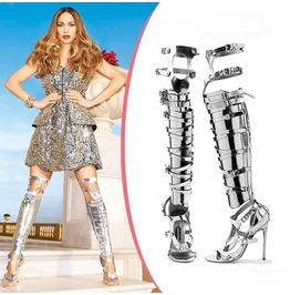 Silver Gold Thigh High Gladiator Strap Boots
