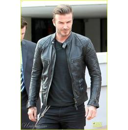 David Beckham Men's Black Motorcycle GENUINE Lambskin Leather Biker Jacket