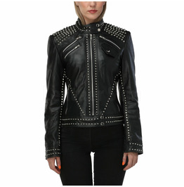 Studded Stand Collar Black Leather Jacket