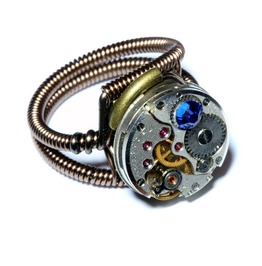 Steampunk Ring Antique Watch Movement Capri Blue