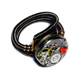 Steampunk Ring Antique Watch Movement Fire Opal Crystal