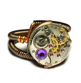 Steampunk Ring Watch Movement Heliotrope Crystal