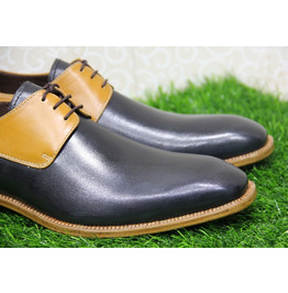 Mens New Handmade Formal Shoes Two Tone Black & Yellow Leather (109)