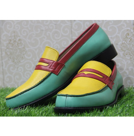 Mens New Handmade Formal Shoes Multi Colored Leather Loafers (110)