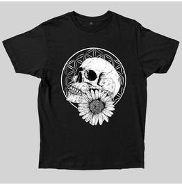 Flower Of Life Skull Head Print Round Neck T-shirt