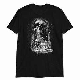 Moon Skull Print Round Neck Black T-shirt