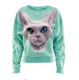 Cat Print Fashion Women Sweatshirt