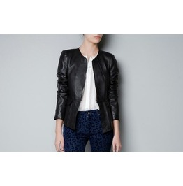 Black Fashion Women Pu Leather Jacket