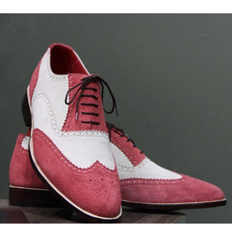 New Mens Handmade Formal Shoes Two Tone Pink & White Suede Leather (112)
