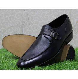 Mens New Handmade Shoes Formal Dress Navy Blue Monk Single Strap (113)