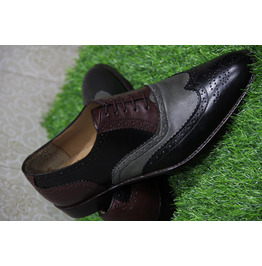 New Mens Formal Shoes Handmade Multi Color Leather Wingtip Two Tone (114)