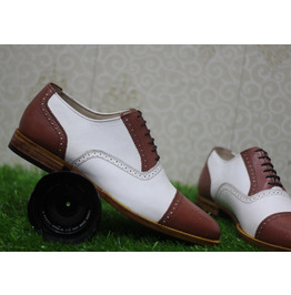 New Mens Handmade Formal Shoes Two Tone Brown & White Leather Lace Up(116)