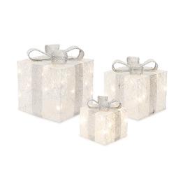 "Glitter Finish LED Gift Box (Set of 3) 7""H, 9""H, 11""H Cotton"