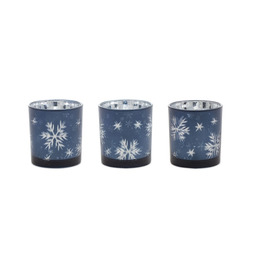 """Navy Blue 3""""H Set of 3 Glass Candle Holders"""