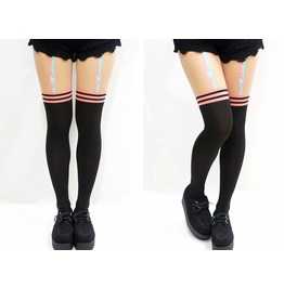 Pastel Goth Thigh High Pastel Suspender Tights
