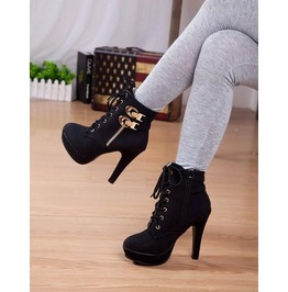 Lace Side Zipper Buckle Thin High Heel Boots