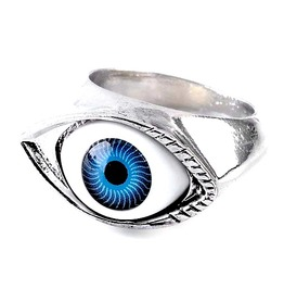 Awesome Lucky Blue Eye Metal Biker Ring