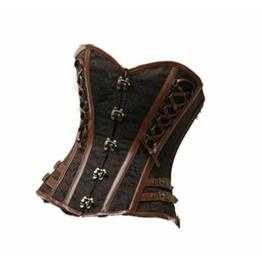 Brown Brocade Leather Straps Gothic Steampunk Waist Trainer Overbust Corset