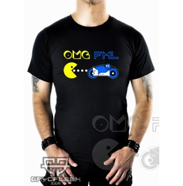 Cryoflesh Omg Fml Cyber Goth Gothic Pac Man Shirt Male