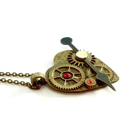 Heart Arrow Gears Steampunk Necklace Handmade Gift By Aunt Matilda
