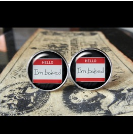 Hello I'm Baked Cuff Links Men,Weddings,Groomsmen,Groom