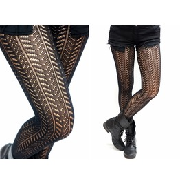 Twill Pattern Stripe Fishnet Pantyhose /Tights
