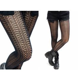 Twill Pattern Stripe Fishnet Pantyhose /Tights