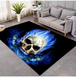 Blue Flame Skull Black Ant-Slip Mat