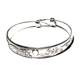 Unique Chinese Dragon Bird Design Silver Plated Bangle