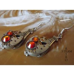 Steampunk Silver Fireopal Earrings Steamretro