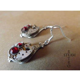 Steampunk Silver Red Siam Earrings Steamretro