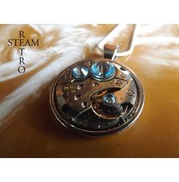Swarovski Crystal Steampunk Necklace Aquamarine