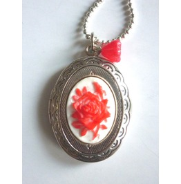 Victorian Locket Medallion Red Rose Cameo Necklace
