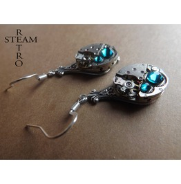 Steampunk Silver Turquoise Earrings Steamretro