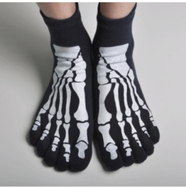 Pair Skeleton Printed Stretchy Toe Socks