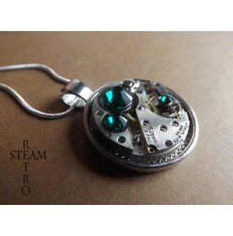 Swarovski Crystal Steampunk Necklace Emerald Steamretro