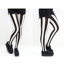 Black & White Stripes Pastel Goth Tights