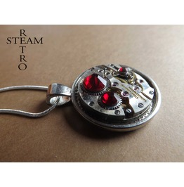 Steampunk Clockwork Pendant & Siam Swarovski Necklace