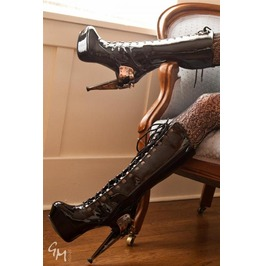Hades Shoes Zeppelin Stiletto Knee High Steampunk Boots