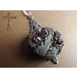 Antique Rose Steampunk Pendant Necklace