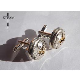 Clear Swarovski Crystal Steampunk Cufflinks Steampunk